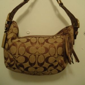 8340ed852f21 COACH Brown/Tan Signature Logo Small Shoulder Bag